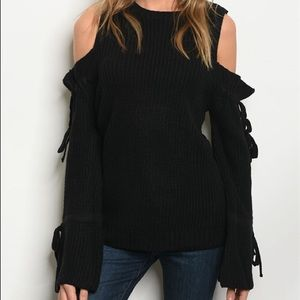 Sweaters - Black Long Bell Sleeves, Cold Shoulder Sweater